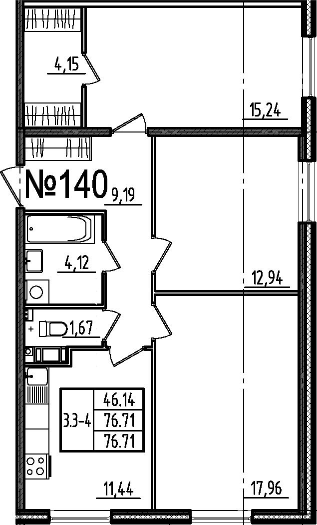 3-к.кв, 76.71 м²