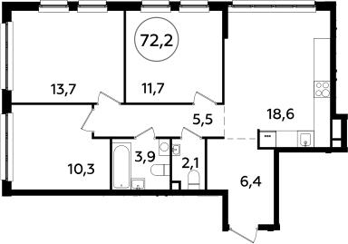 4Е-комнатная, 72.2 м²– 2