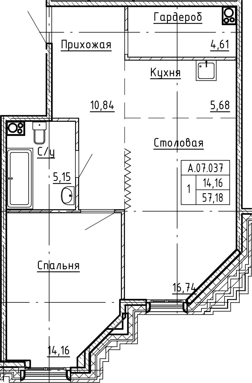 2Е-комнатная, 57.18 м²– 2