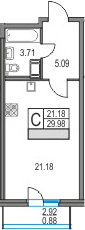 Студия, 32.9 м²
