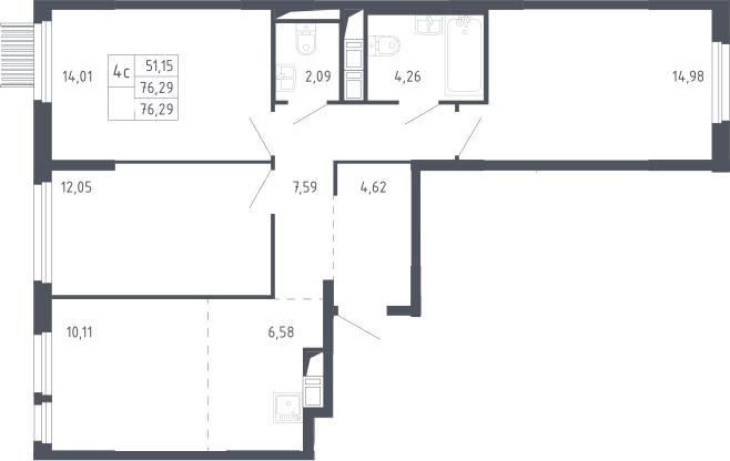 4Е-комнатная, 76.29 м²– 2
