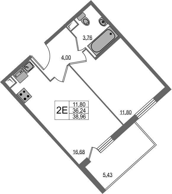 2-к.кв (евро), 41.67 м²