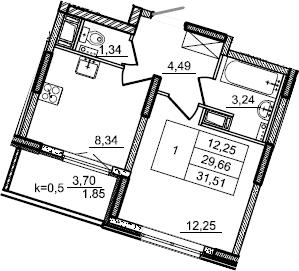 1-к.кв, 31.51 м², от 6 этажа