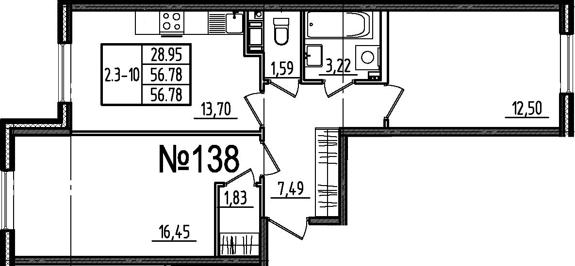 2-к.кв, 56.78 м²