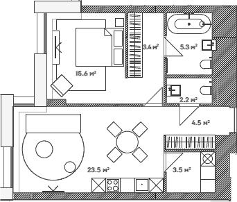 2Е-к.кв, 58 м²