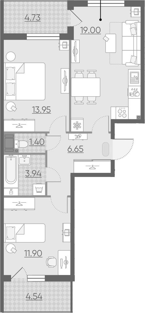 3Е-комнатная, 61.48 м²– 2