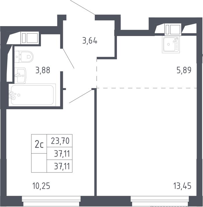 2Е-комнатная, 37.11 м²– 2