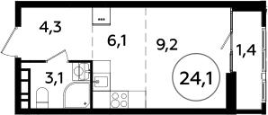 Студия, 24.1 м²– 2