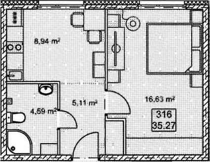 1-к.кв, 35.27 м²