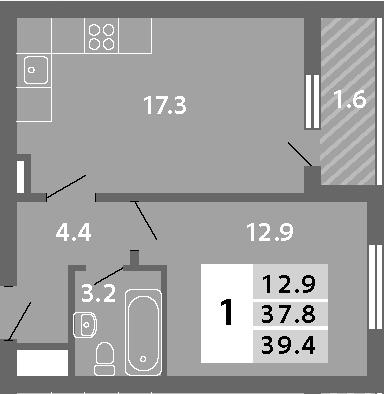 2Е-к.кв, 39.38 м²