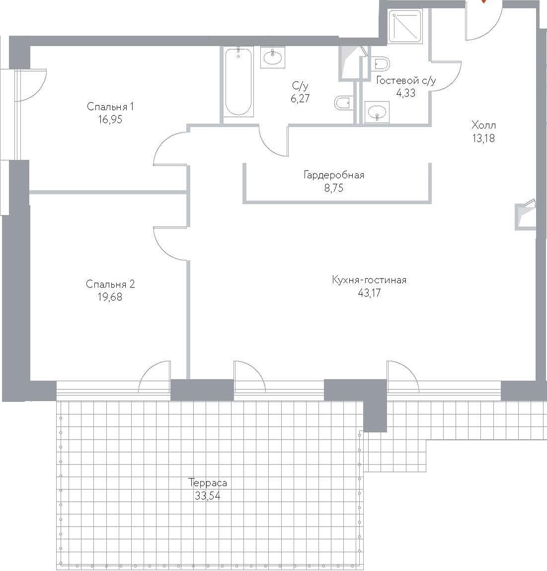 3Е-к.кв, 145.87 м², 4 этаж