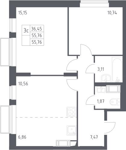 3Е-к.кв, 55.76 м², 21 этаж