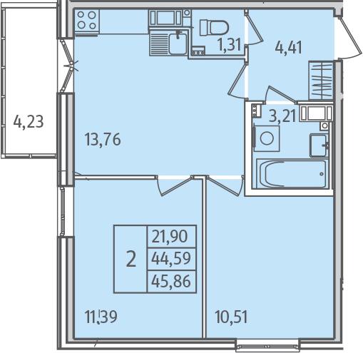 2-к.кв, 45.84 м²