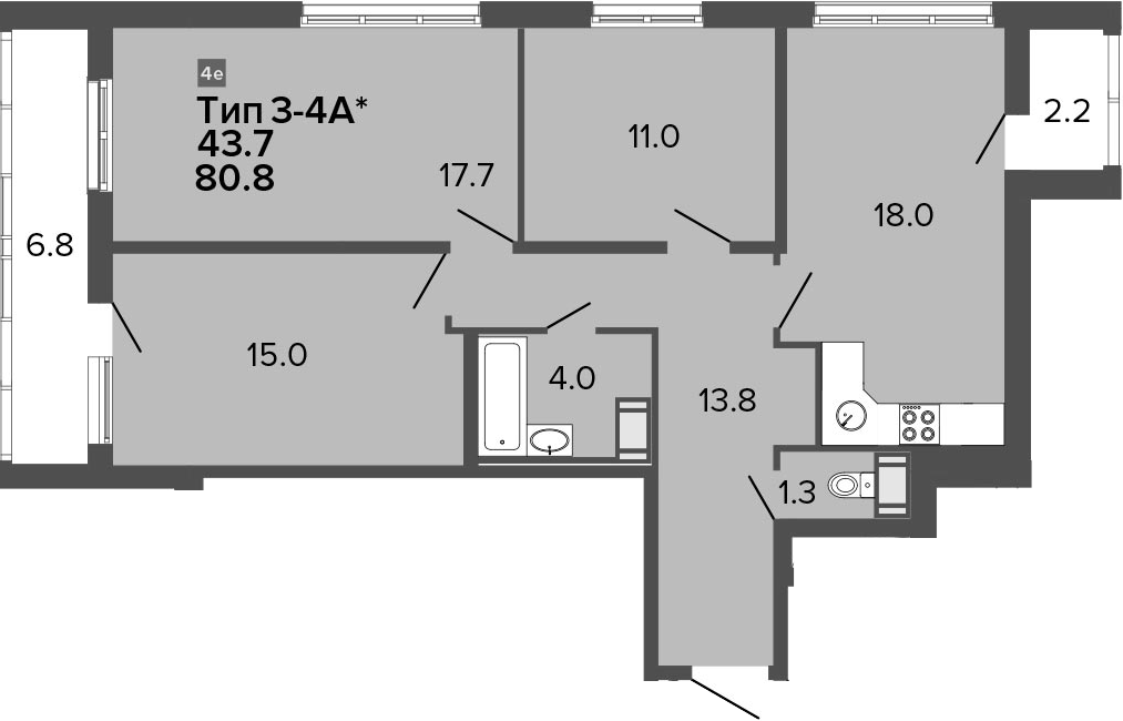 4Е-к.кв, 80.8 м², от 20 этажа