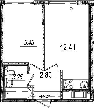 1-к.кв, 27.89 м²