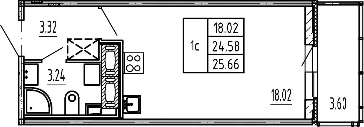 Студия, 24.58 м²– 2