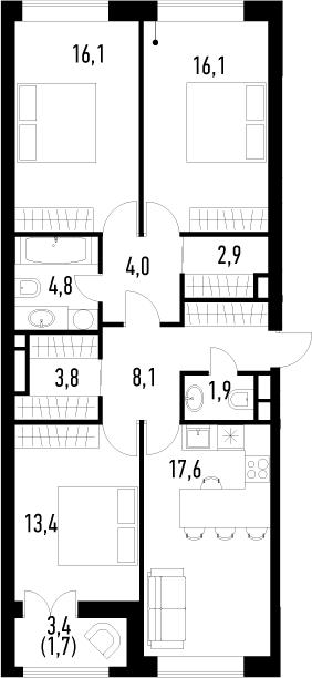 4Е-к.кв, 90.4 м², 2 этаж