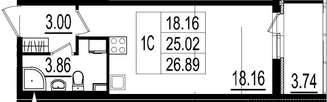 Студия, 25.02 м², 1 этаж – Планировка