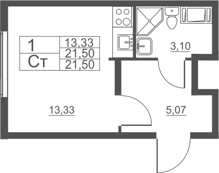 Студия, 21.5 м²