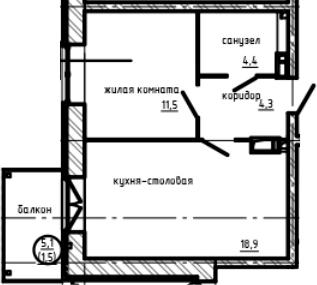 1-к.кв, 40.6 м², 9 этаж