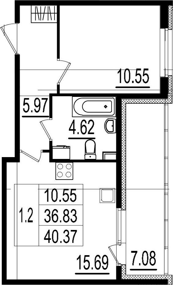 2Е-комнатная, 36.83 м²– 2