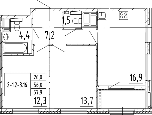 3Е-к.кв, 57.9 м²