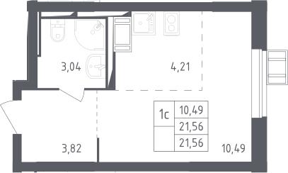 Студия, 21.56 м², 10 этаж