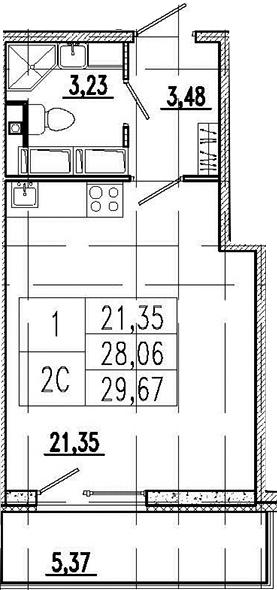 Студия, 33.43 м²