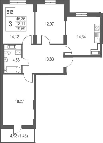 3-к.кв, 79.59 м², 25 этаж