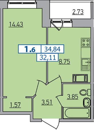 1-комнатная, 32.11 м²– 2