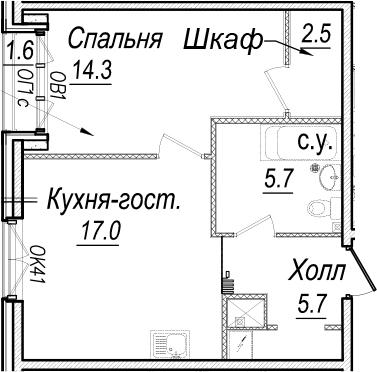 2Е-комнатная, 46.6 м²– 2