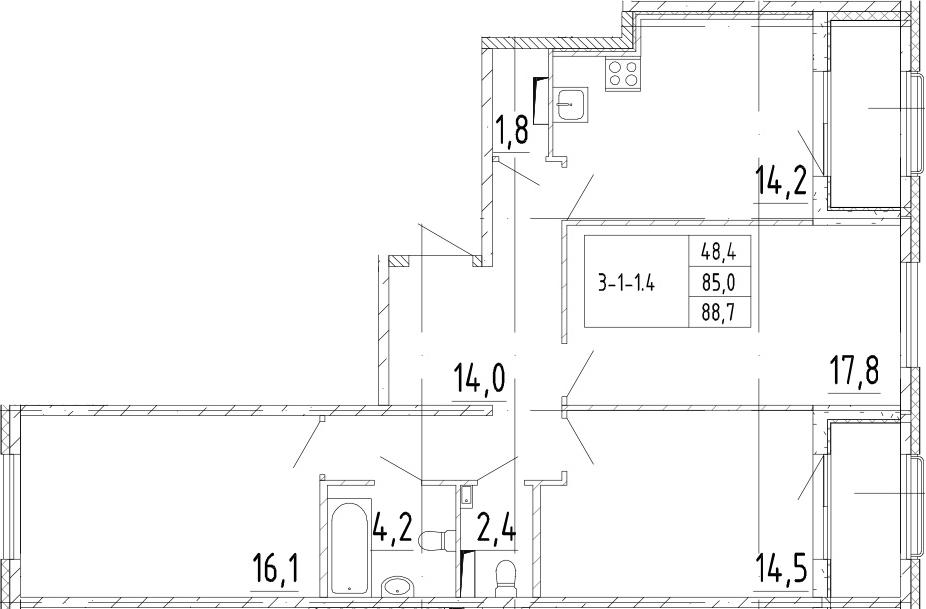 3-к.кв, 88.7 м²