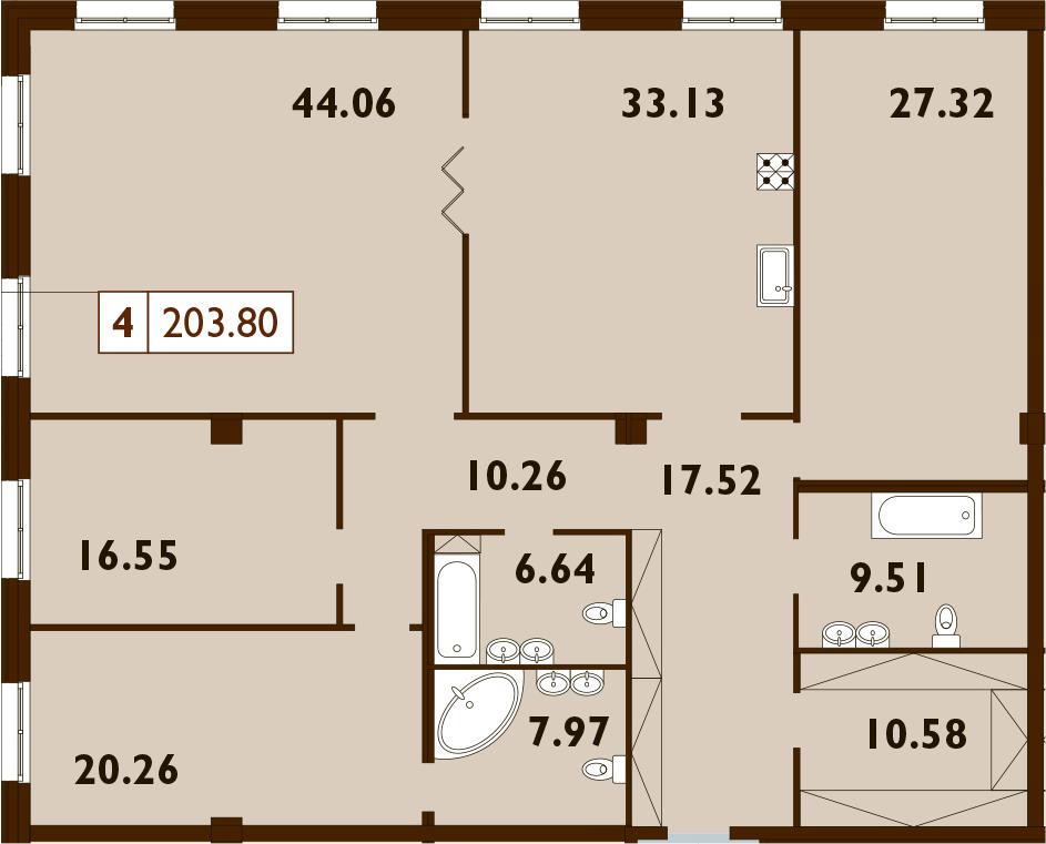 5Е-комнатная, 203.8 м²– 2