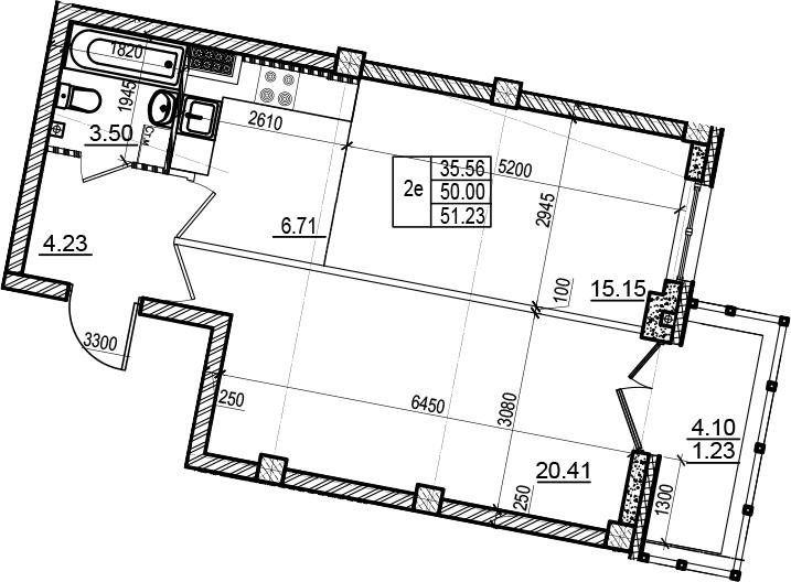 2Е-комнатная, 51.23 м²– 2