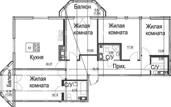 5-к.кв (евро), 138.14 м²