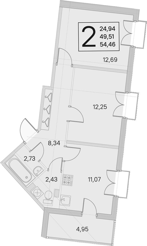 2-комнатная, 49.51 м²– 2