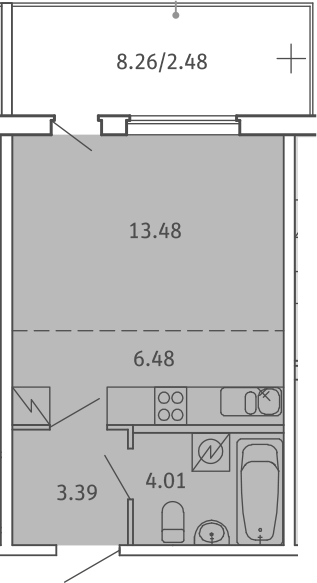 Студия, 29.84 м²– 2