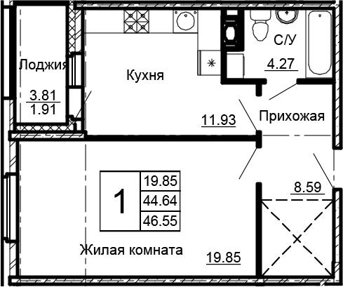 1-комнатная, 46.55 м²– 2