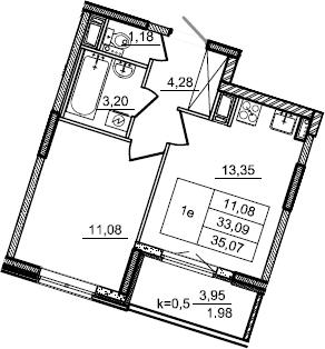 1-к.кв, 35.07 м², от 3 этажа