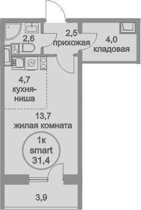 Студия, 31.4 м²– 2