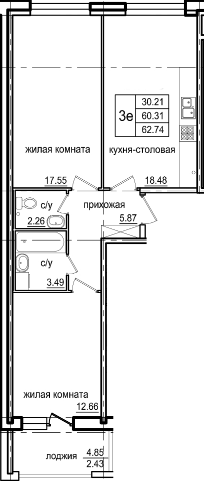3Е-к.кв, 62.74 м²