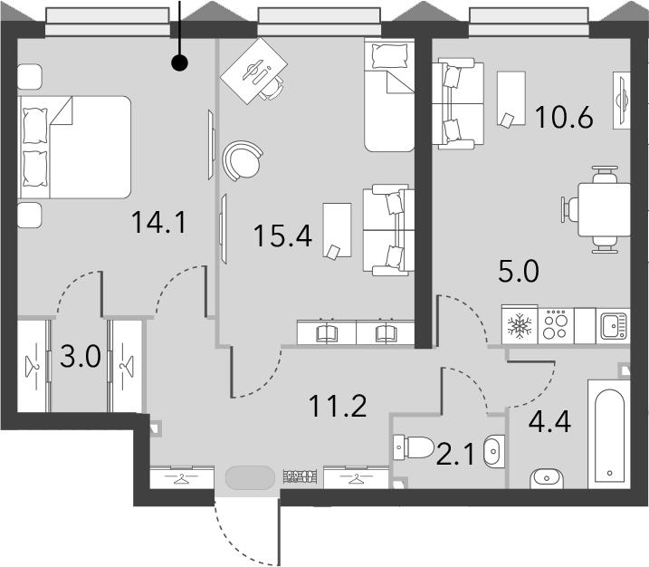 2-к.кв, 65.8 м²