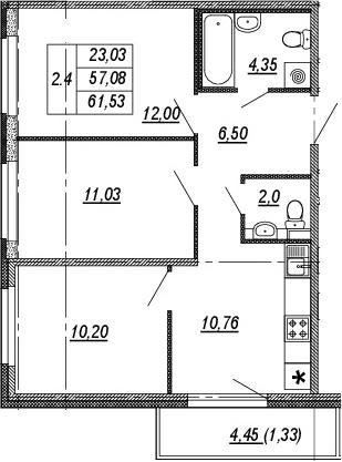 3-к.кв, 57.08 м²