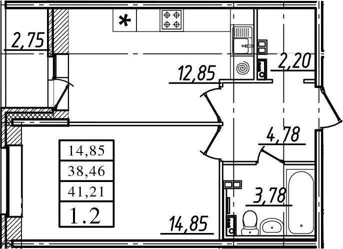 1-к.кв, 38.46 м²