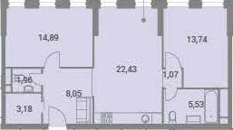 3-к.кв (евро), 70.85 м²