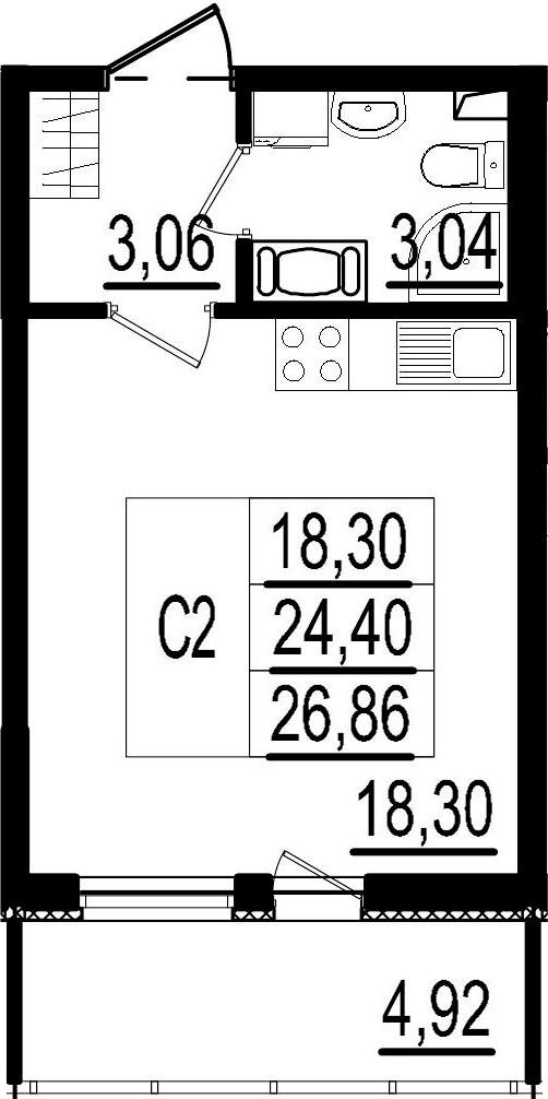 Студия, 24.4 м², 6 этаж