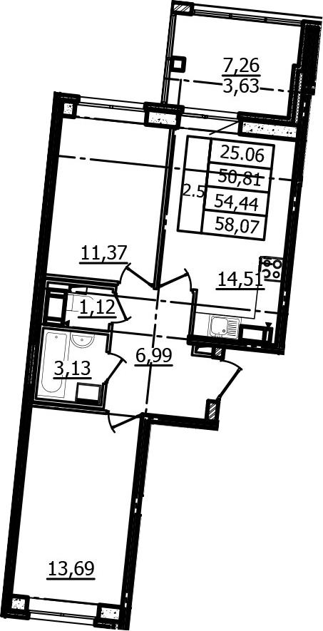 2-к.кв, 50.81 м², 9 этаж