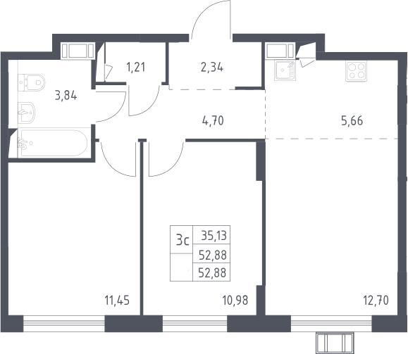 3Е-комнатная, 52.88 м²– 2