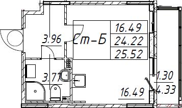 Студия, 25.52 м²– 2