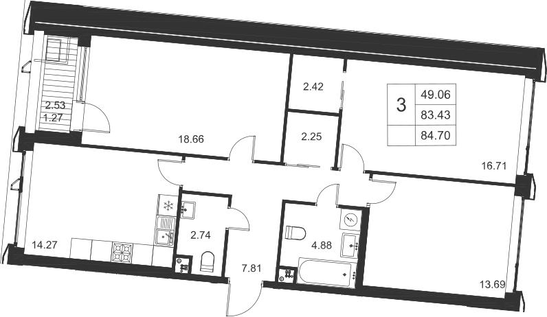 3-к.кв, 85.97 м²